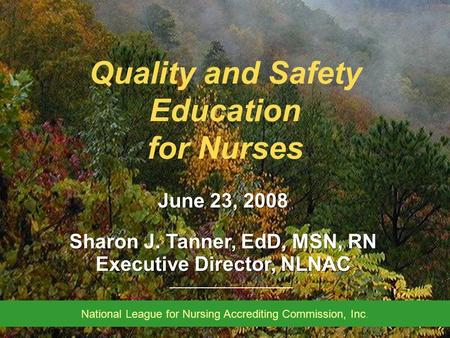______________________ North Carolina Associate Degree Nursing Program Deans' & Directors' Meeting March 2008 Quality and Safety Education for Nurses June.