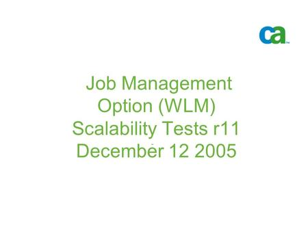 Job Management Option (WLM) Scalability Tests r11 December 12 2005 -