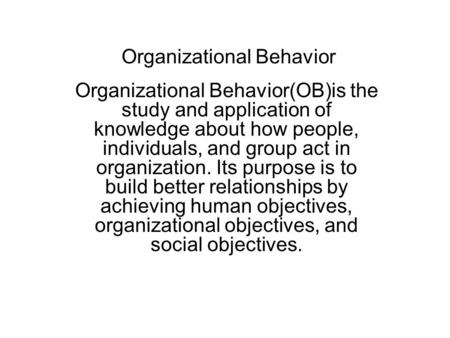 organizational behavior theoretical framework