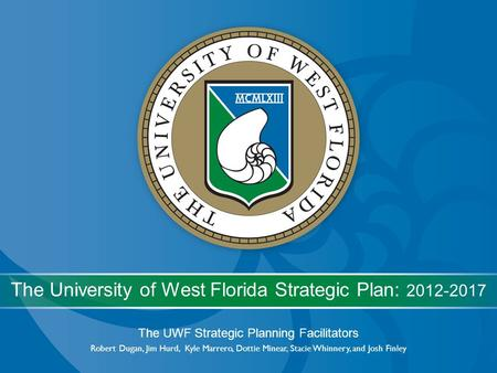 The UWF Strategic Planning Facilitators Robert Dugan, Jim Hurd, Kyle Marrero, Dottie Minear, Stacie Whinnery, and Josh Finley The University of West Florida.