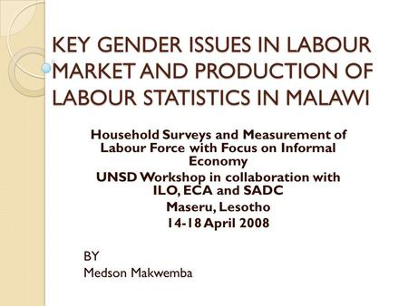 KEY GENDER ISSUES IN LABOUR MARKET AND PRODUCTION OF LABOUR STATISTICS IN MALAWI Household Surveys and Measurement of Labour Force with Focus on Informal.