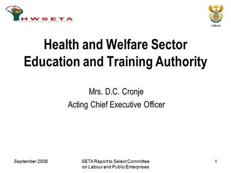 September 2006SETA Report to Select Committee on Labour and Public Enterprises 1 Labour Mrs. D.C. Cronje Acting Chief Executive Officer Health and Welfare.