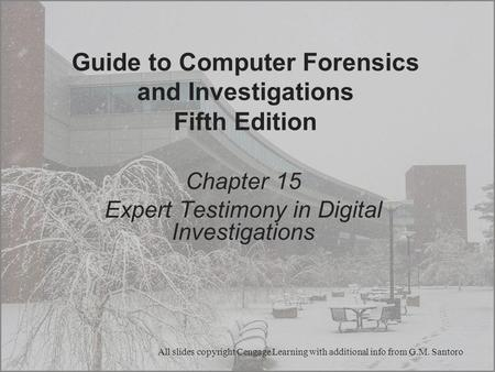 Guide to Computer Forensics and Investigations Fifth Edition Chapter 15 Expert Testimony in Digital Investigations All slides copyright Cengage Learning.