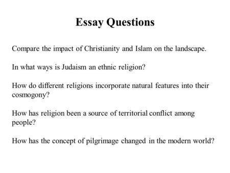 essay on judaism christianity and islam