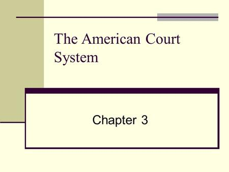 The American Court System Chapter 3. Why Study Law And Court System? Manager Needs Understanding Managers Involved In Court Cases As Party As Witness.