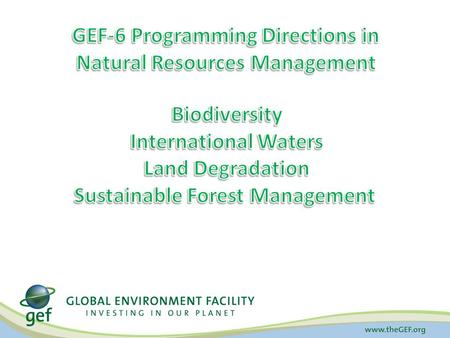 Biodiversity Focal Area GEF-6 Strategy Goal: To maintain globally significant biodiversity and the ecosystem goods and services that it provides to society.