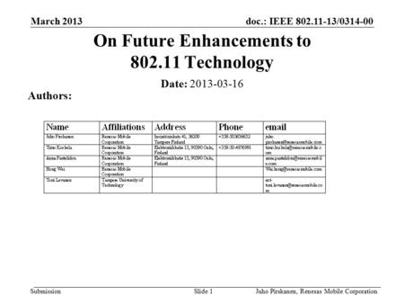 Doc.: IEEE 802.11-13/0314-00 Submission March 2013 Juho Pirskanen, Renesas Mobile CorporationSlide 1 On Future Enhancements to 802.11 Technology Date: