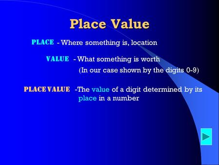 Value - What something is worth Place - Where something is, location ( In our case shown by the digits 0-9 ) Place Value Place value -The value of a digit.