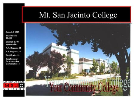 Mt. San Jacinto College Founded: 1963 Enrollment: 20,000 District: 1,700 square miles A.A. Degrees: 12 A.S. Degrees: 24 Certificates: 31 Employment Concentration.