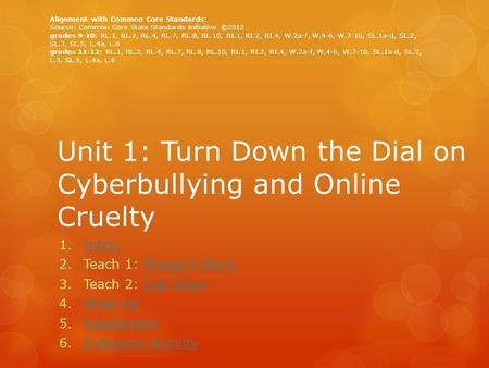 Unit 1: Turn Down the Dial on Cyberbullying and Online Cruelty 1.Intro:Intro: 2.Teach 1: Stacey's StoryStacey's Story 3.Teach 2: Dial DownDial Down 4.Wrap-UpWrap-Up.