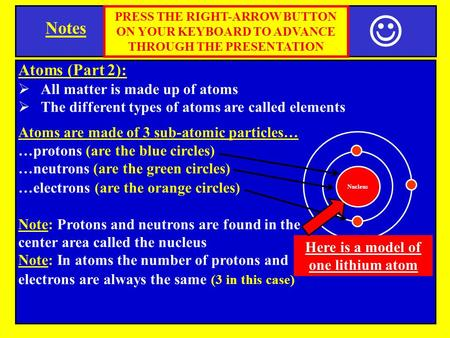 Notes Atoms (Part 2):  All matter is made up of atoms  The different types of atoms are called elements Atoms are made of 3 sub-atomic particles… …protons.