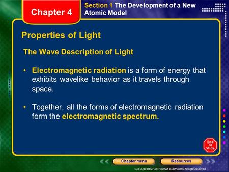 Copyright © by Holt, Rinehart and Winston. All rights reserved. ResourcesChapter menu Section 1 The Development of a New Atomic Model Properties of Light.