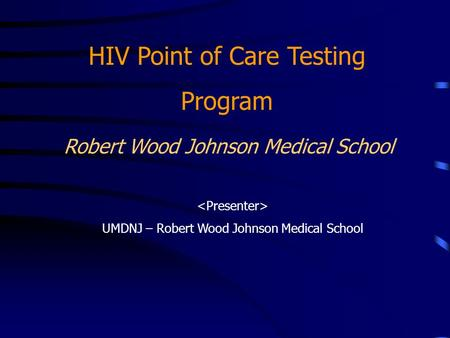 HIV Point of Care Testing Program