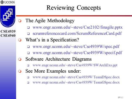 OV-1.1 CSE4939 CSE4940 Reviewing Concepts  The Agile Methodology  www.engr.uconn.edu/~steve/Cse2102/finagile.pptx  scrumreferencecard.com/ScrumReferenceCard.pdf.