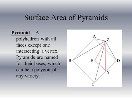 Surface Area of Pyramids Pyramid – A polyhedron with all faces except one intersecting a vertex. Pyramids are named for their bases, which can be a polygon.