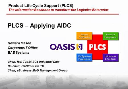 Product Life Cycle Support (PLCS) The Information Backbone to transform the Logistics Enterprise PLCS – Applying AIDC Howard Mason Corporate IT Office.