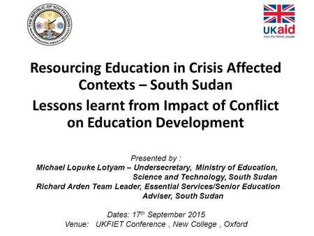 Resourcing Education in Crisis Affected Contexts – South Sudan