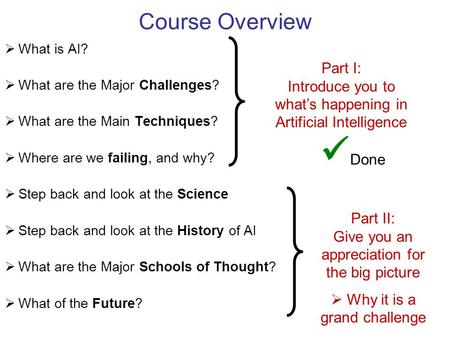Course Overview  What is AI?  What are the Major Challenges?  What are the Main Techniques?  Where are we failing, and why?  Step back and look at.