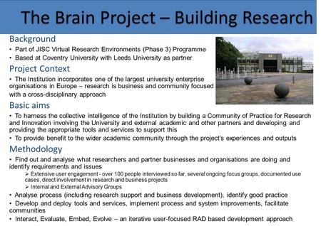 The Brain Project – Building Research Background Part of JISC Virtual Research Environments (Phase 3) Programme Based at Coventry University with Leeds.