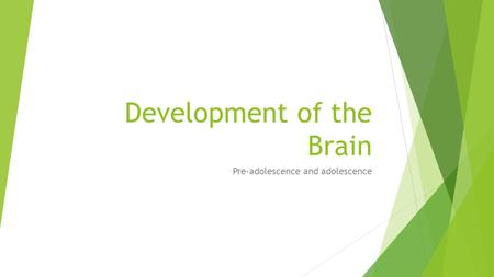 Development of the Brain Pre-adolescence and adolescence.