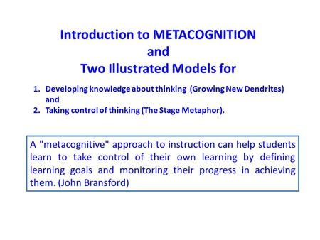 Introduction to METACOGNITION Two Illustrated Models for