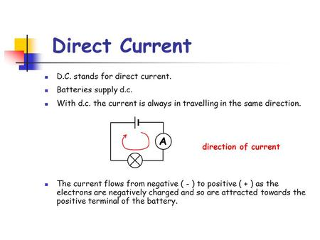 Direct Current D.C. stands for direct current. Batteries supply d.c. With d.c. the current is always in travelling in the same direction. The current flows.