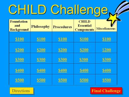 CHILD Challenge $100 $200 $300 $400 $500 $100 $200 $200 $300 $400 $500 Final Challenge Directions.