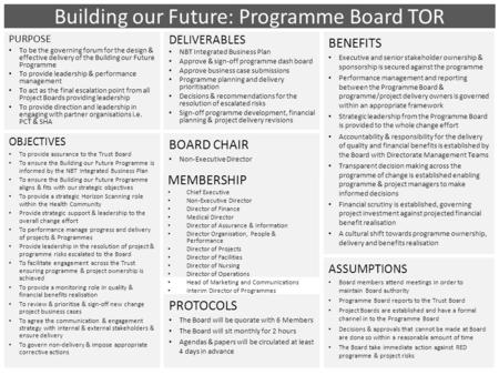 Building our Future: Programme Board TOR PURPOSE To be the governing forum for the design & effective delivery of the Building our Future Programme To.