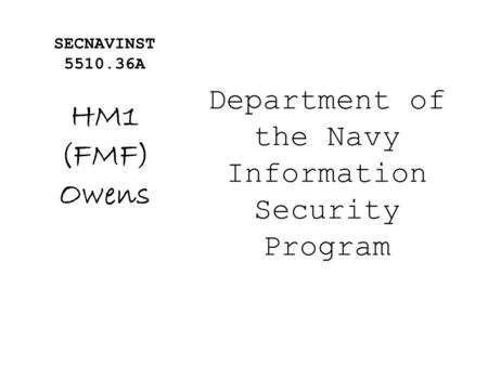 Department of the Navy Information Security Program
