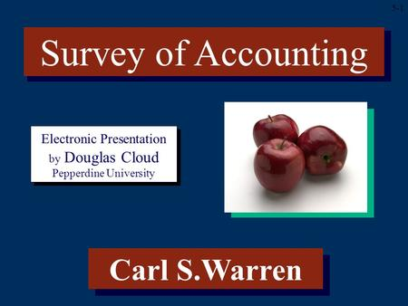 5-1 Electronic Presentation by Douglas Cloud Pepperdine University Carl S.Warren Survey of Accounting.