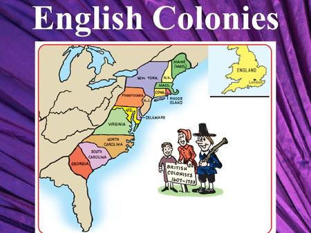 English Colonies. Roman Catholic Church Protestants Baptists Presbyterians Episcopalians Lutherans Church of England Puritans Separatists (Pilgrims)