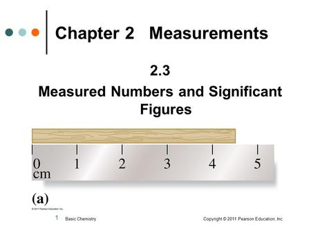 1 2.3 Measured Numbers and Significant Figures Chapter 2 Measurements Basic Chemistry Copyright © 2011 Pearson Education, Inc.