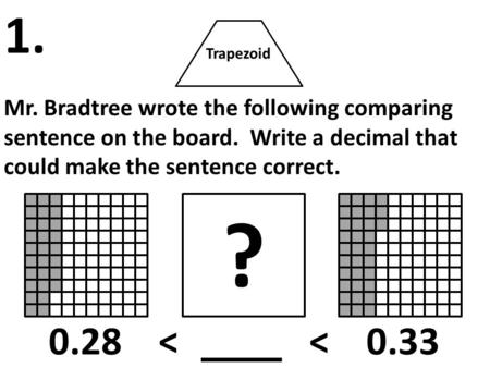Trapezoid Mr. Bradtree wrote the following comparing sentence on the board. Write a decimal that could make the sentence correct. 1. ? 0.28 < < 0.33.
