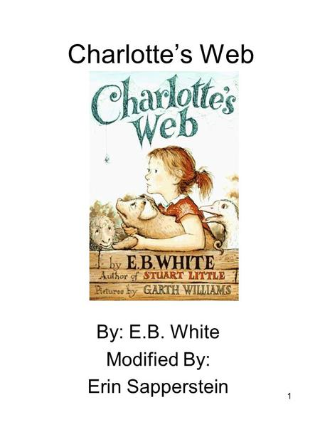 1 Charlotte's Web By: E.B. White Modified By: Erin Sapperstein.