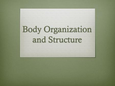 Body Organization and Structure. Body Organization and Structure Chapter 8 – Section 1  Homeostasis : the maintenance of a constant internal state in.