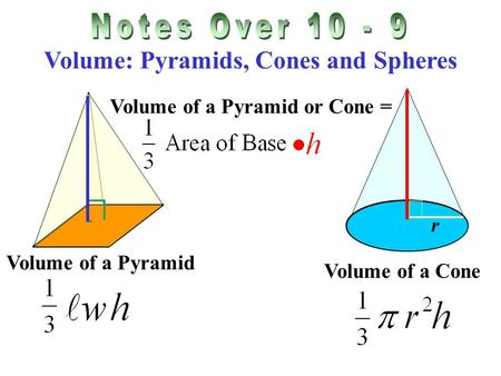 Volume: Pyramids, Cones and Spheres Volume of a Pyramid or Cone = Volume of a Pyramid Volume of a Cone r.