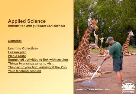 Applied Science Information and guidance for teachers Contents Learning Objectives Lesson plan Plan a route Suggested activities to link with session Things.