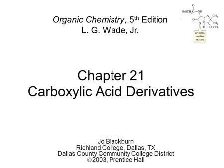 Chapter 21 Carboxylic Acid Derivatives Jo Blackburn Richland College, Dallas, TX Dallas County Community College District  2003,  Prentice Hall Organic.