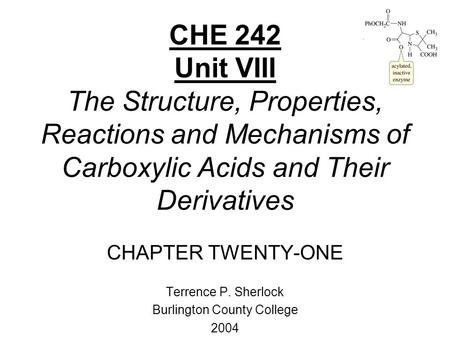 CHE 242 Unit VIII The Structure, Properties, Reactions and Mechanisms of Carboxylic Acids and Their Derivatives CHAPTER TWENTY-ONE Terrence P. Sherlock.