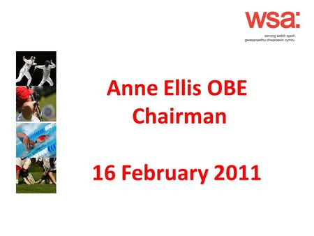 Anne Ellis OBE Chairman 16 February 2011. WSA Strategy & Aims Reviewed in 2010 Area 1 Membership Services To supply first class services to members that.