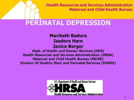 1 Health Resources and Services Administration Maternal and Child Health Bureau PERINATAL DEPRESSION Maribeth Badura Isadora Hare Janice Berger Dept. of.
