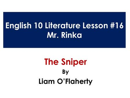 The sniper by liam o flaherty summary