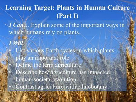 Learning Target: Plants in Human Culture (Part I) I Can… Explain some of the important ways in which humans rely on plants. I Will… List various Earth.