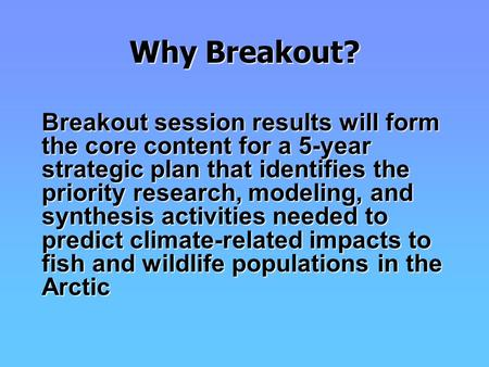 Why Breakout? Breakout session results will form the core content for a 5-year strategic plan that identifies the priority research, modeling, and synthesis.