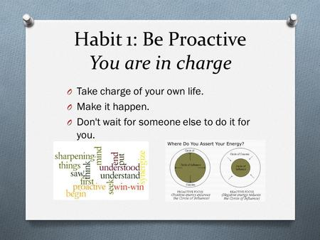 Habit 1: Be Proactive You are in charge O Take charge of your own life. O Make it happen. O Don't wait for someone else to do it for you.