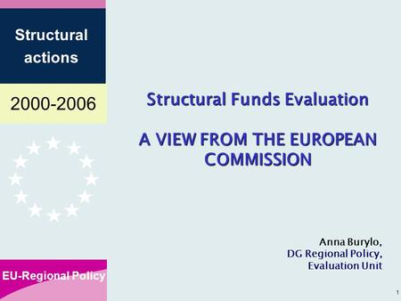 2000-2006 EU-Regional Policy Structural actions 1 Structural Funds Evaluation A VIEW FROM THE EUROPEAN COMMISSION Anna Burylo, DG Regional Policy, Evaluation.
