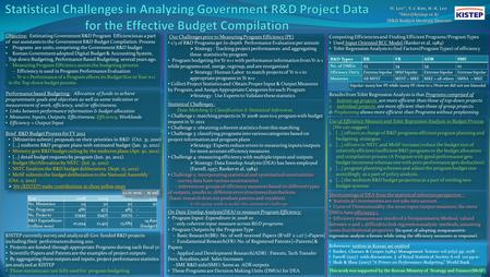Objective: Estimating Government R&D Program Efficiencies as a part of our assistants to the Government R&D Budget Compilation Process Programs are units,