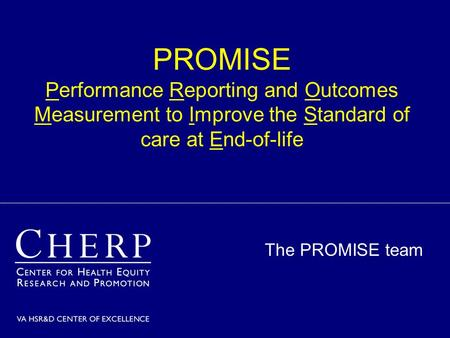 PROMISE Performance Reporting and Outcomes Measurement to Improve the Standard of care at End-of-life The PROMISE team.