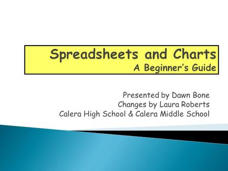 Presented by Dawn Bone Changes by Laura Roberts Calera High School & Calera Middle School.
