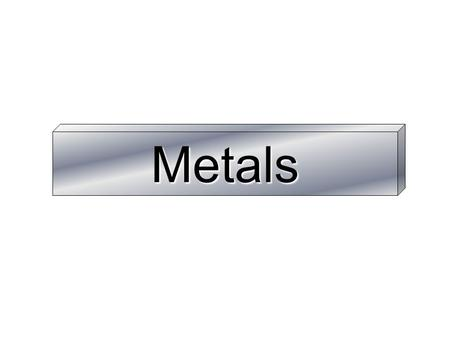 Metals. Learning Objectives Order metals in order of reactivity Relate extraction method to reactivity Write word/symbol equations for reduction of metal.